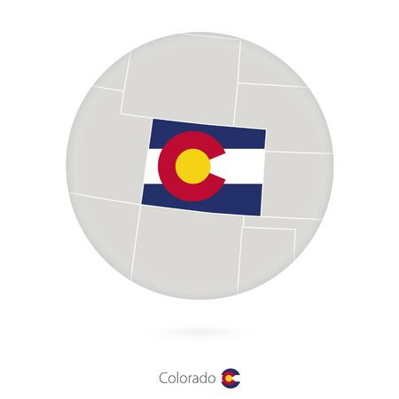 state of colorado: Map of Colorado State and flag in a circle. Colorado US State map contour with flag. Vector Illustration.
