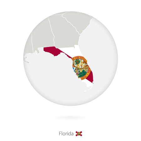 tallahassee: Map of Florida State and flag in a circle. Florida US State map contour with flag. Vector Illustration.