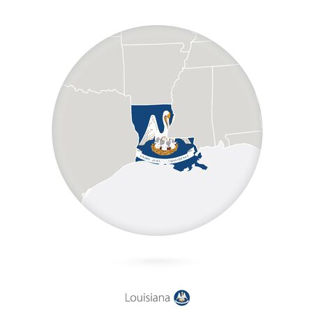 louisiana flag: Map of Louisiana State and flag in a circle. Louisiana US State map contour with flag. Vector Illustration.