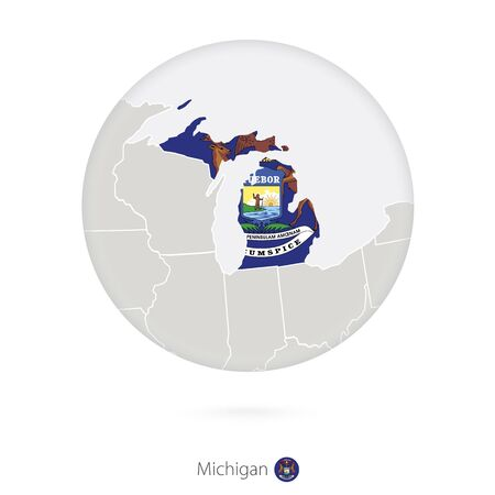 michigan flag: Map of Michigan State and flag in a circle. Michigan US State map contour with flag. Vector Illustration. Illustration