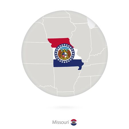 jefferson: Map of Missouri State and flag in a circle. Missouri US State map contour with flag. Vector Illustration.