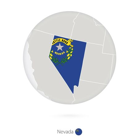 carson city: Map of Nevada State and flag in a circle. Nevada US State map contour with flag. Vector Illustration.