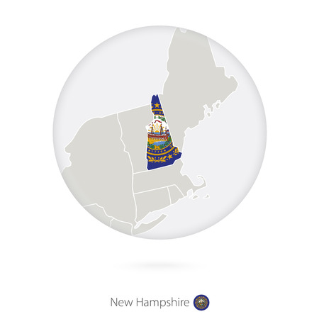 carson city: Map of New Hampshire State and flag in a circle. New Hampshire US State map contour with flag. Vector Illustration.