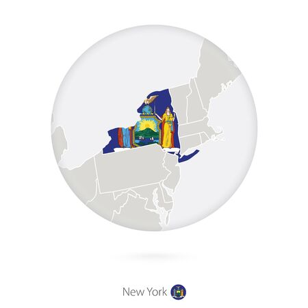 albany: Map of New York State and flag in a circle. New York US State map contour with flag. Vector Illustration. Illustration
