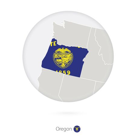 oregon: Map of Oregon State and flag in a circle. Oregon US State map contour with flag. Vector Illustration. Illustration