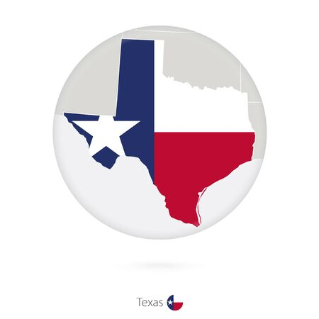 texas state flag: Map of Texas State and flag in a circle. Texas US State map contour with flag. Vector Illustration.