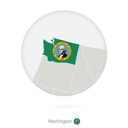 Mapa Del Estado De Tennessee Y La Bandera En Un Círculo. Mapa De ...