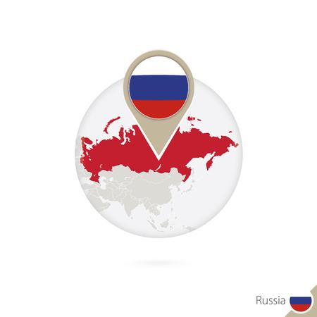 bandera rusia: Rusia mapa y la bandera en círculo. Mapa de Rusia, Rusia pin de la bandera. Mapa de Rusia en el estilo del globo. Ilustración del vector.