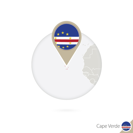 an        verde: Cape Verde map and flag in circle. Map of Cape Verde, Cape Verde flag pin. Vector Illustration. Illustration