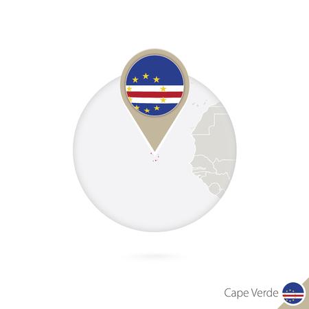 cape verde flag: Cape Verde map and flag in circle. Map of Cape Verde, Cape Verde flag pin. Vector Illustration. Illustration