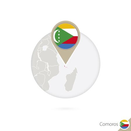 land mark: Comoros map and flag in circle. Map of Comoros, Comoros flag pin. Map of Comoros in the style of the globe. Vector Illustration.