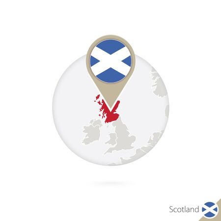 Scotland map and flag in circle. Map of Scotland, Scotland flag pin. Map of Scotland in the style of the globe. Vector Illustration.  イラスト・ベクター素材
