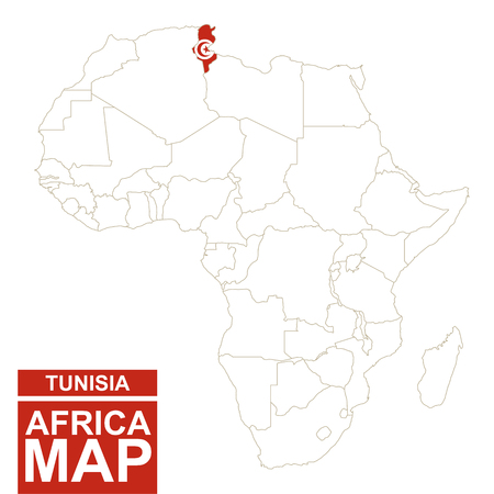 contoured: Africa contoured map with highlighted Tunisia. Tunisia map and flag on Africa map. Vector Illustration.