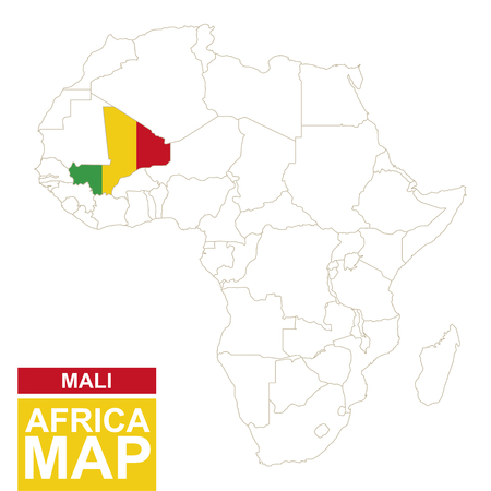 Africa Contoured Map With Highlighted Mali. Mali Map And Flag ...