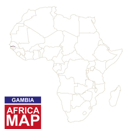 highlighted: Africa contoured map with highlighted Gambia. Gambia map and flag on Africa map. Vector Illustration.