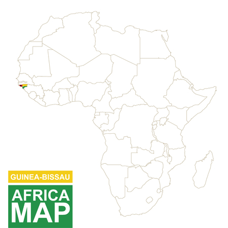 highlighted: Africa contoured map with highlighted Guinea-Bissau. Guinea-Bissau map and flag on Africa map. Vector Illustration.
