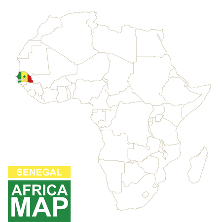 contoured: Africa contoured map with highlighted Senegal. Senegal map and flag on Africa map. Vector Illustration.