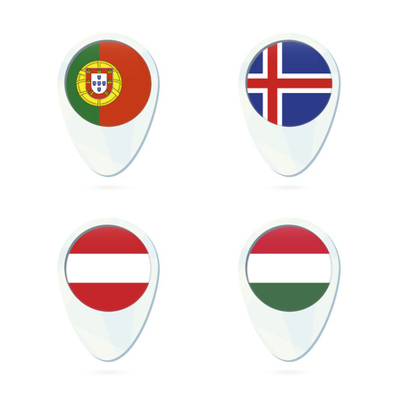 Romania Italy Hungary Slovenia Flag Location Map Pin Icon - Portugal map icon