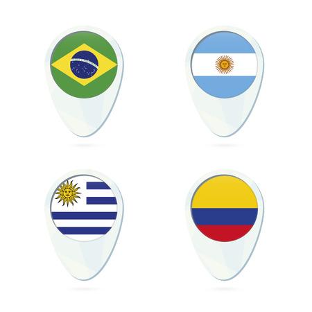 bandera argentina: Brasil, Argentina, Uruguay, Colombia ubicación marcador icono de mapa de pines. Ilustración del vector. Vectores