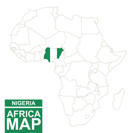 Africa contoured map with highlighted Nigeria. Nigeria map and flag on Africa map. Vector Illustration.