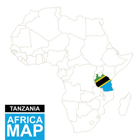 contoured: Africa contoured map with highlighted Tanzania. Tanzania map and flag on Africa map. Vector Illustration.