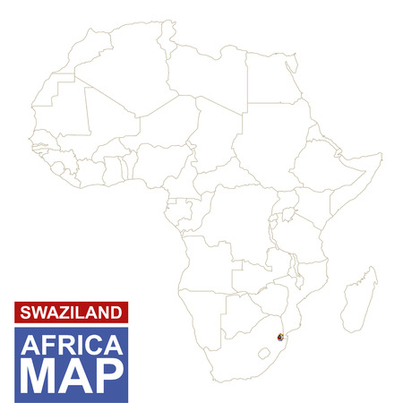 mauritania: Africa contoured map with highlighted Swaziland. Swaziland map and flag on Africa map. Vector Illustration.