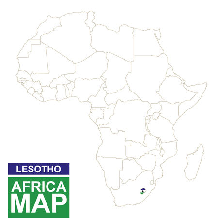 lesotho: Africa contoured map with highlighted Lesotho. Lesotho map and flag on Africa map. Vector Illustration.