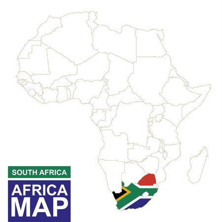 south africa map: Africa contoured map with highlighted South Africa. South Africa map and flag on Africa map. Vector Illustration.