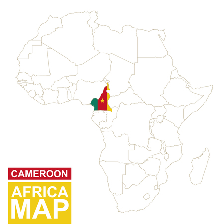 highlighted: Africa contoured map with highlighted Cameroon. Cameroon map and flag on Africa map. Vector Illustration.