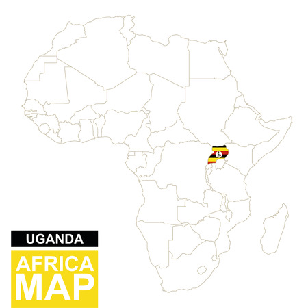 mauritania: Africa contoured map with highlighted Uganda. Uganda map and flag on Africa map. Vector Illustration.