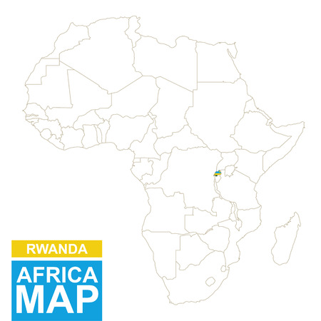 kigali: Africa contoured map with highlighted Rwanda. Rwanda map and flag on Africa map. Vector Illustration.