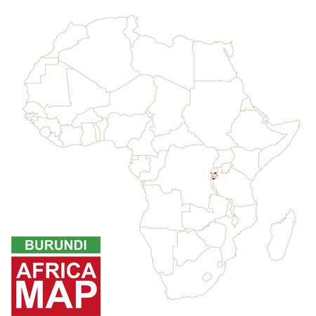 Africa Contoured Map With Highlighted Burundi Burundi Map And