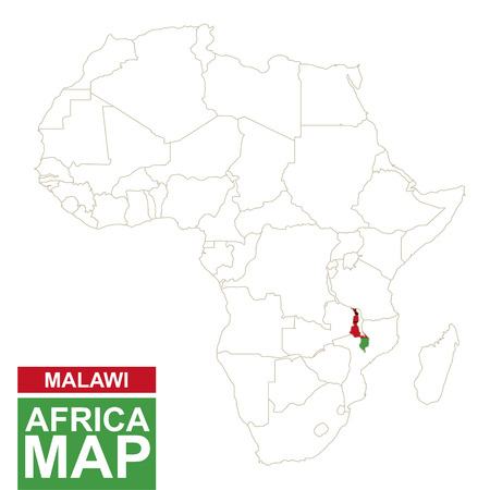Africa contoured map with highlighted Malawi. Malawi map and flag on Africa map. Vector Illustration.