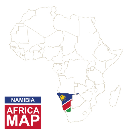 mauritania: Africa contoured map with highlighted Namibia. Namibia map and flag on Africa map. Vector Illustration.