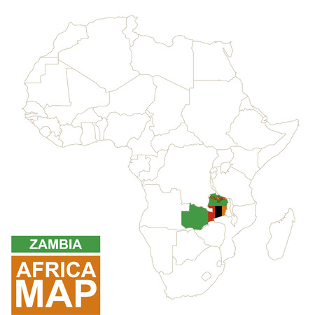 contoured: Africa contoured map with highlighted Zambia. Zambia map and flag on Africa map. Vector Illustration.