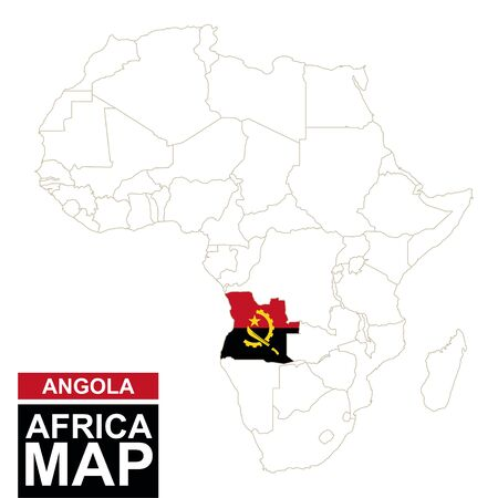 map of angola: Africa contoured map with highlighted Angola. Angola map and flag on Africa map. Vector Illustration.