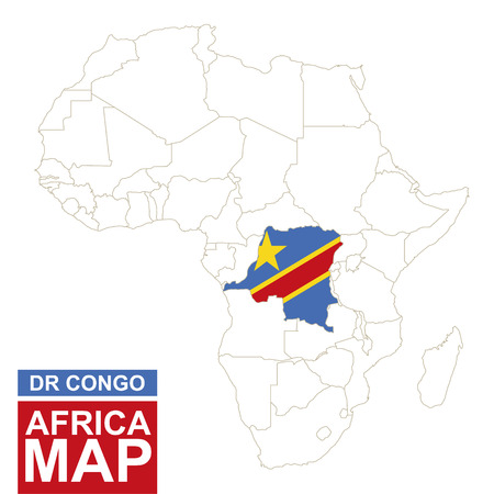 dr: Africa contoured map with highlighted Democratic Republic of the Congo. DR Congo map and flag on Africa map. Vector Illustration.