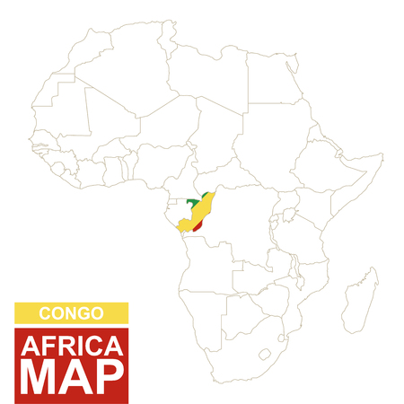 highlighted: Africa contoured map with highlighted Congo. Congo map and flag on Africa map. Vector Illustration. Illustration