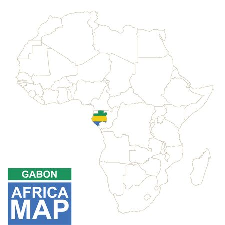 contoured: Africa contoured map with highlighted Gabon. Gabon map and flag on Africa map. Vector Illustration.
