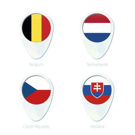 slovakia flag: Belgium, Netherlands, Czech Republic, Slovakia flag location map pin icon. Belgium Flag, Netherlands Flag, Czech Republic, Flag, Slovakia Flag. Vector Illustration.