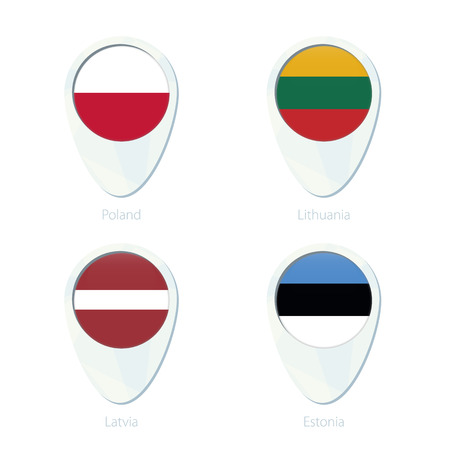 poland flag: Poland, Lithuania, Latvia, Estonia flag location map pin icon. Poland Flag, Lithuania Flag, Latvia Flag, Estonia Flag. Vector Illustration. Illustration
