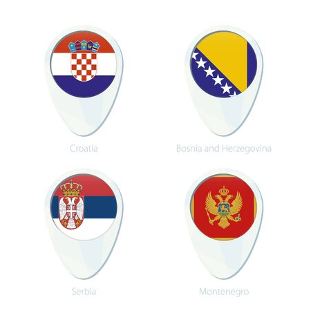 serbia and montenegro: Croatia, Boania and Herzegovina, Serbia, Montenegro flag location map pin icon. Croatia Flag, Boania and Herzegovina Flag, Serbia Flag, Montenegro Flag. Vector Illustration. Illustration