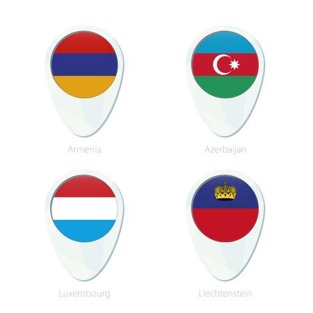 liechtenstein: Armenia, Azerbaijan, Luxembourg, Liechtenstein flag location map pin icon. Armenia Flag, Azerbaijan Flag, Luxembourg Flag, Liechtenstein Flag. Vector Illustration.