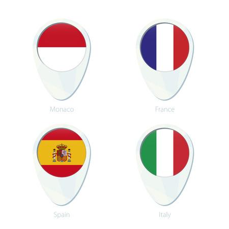 banderas del mundo: Mónaco, Francia, España, Italia ubicación marcador icono de mapa de pines. Bandera de Mónaco, Francia bandera, la bandera de España, Italia Bandera. Ilustración del vector.