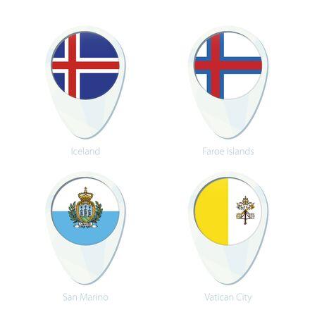 iceland flag: Iceland, Faroe Islands, San Marino, Vatican City flag location map pin icon. Iceland Flag, Faroe Islands Flag, San Marino Flag, Vatican City Flag. Vector Illustration.