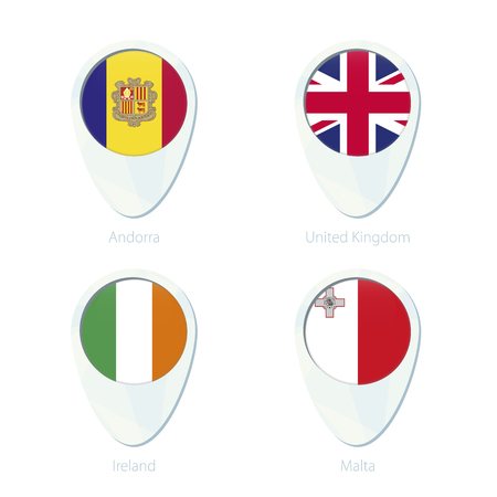 map malta: Andorra, United Kingdom, Ireland, Malta flag location map pin icon. Andorra Flag, United Kingdom Flag, Ireland Flag, Malta Flag. Vector Illustration. Illustration