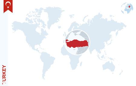 Carte du monde avec grossissement sur la Turquie. Globe de terre bleue avec une épingle de pavillon de Turquie. Zoom sur la carte de la Turquie. Illustration Vecteur