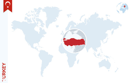 World map with magnifying on Turkey. Blue earth globe with Turkey flag pin. Zoom on Turkey map. Vector Illustration