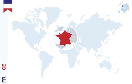 Weltkarte mit Lupe auf Frankreich. Blaue Erdkugel mit Flagge Pin Frankreich. Zoom auf Frankreich-Karte. Vektor-Illustration Vektorgrafik