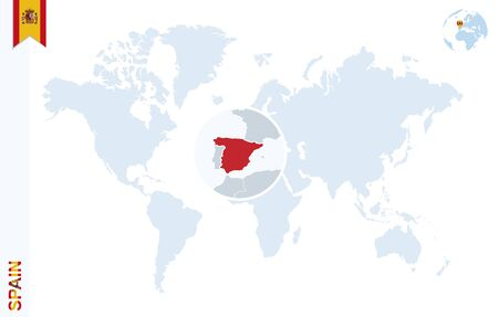 zoom earth: World map with magnifying on Spain. Blue earth globe with Spain flag pin. Zoom on Spain map. Vector Illustration Illustration